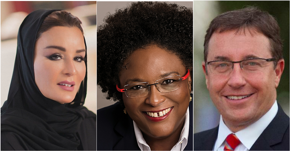 From left: Her Highness Sheikha Moza bint Nasser, Mia Mottley and Achim Steiner