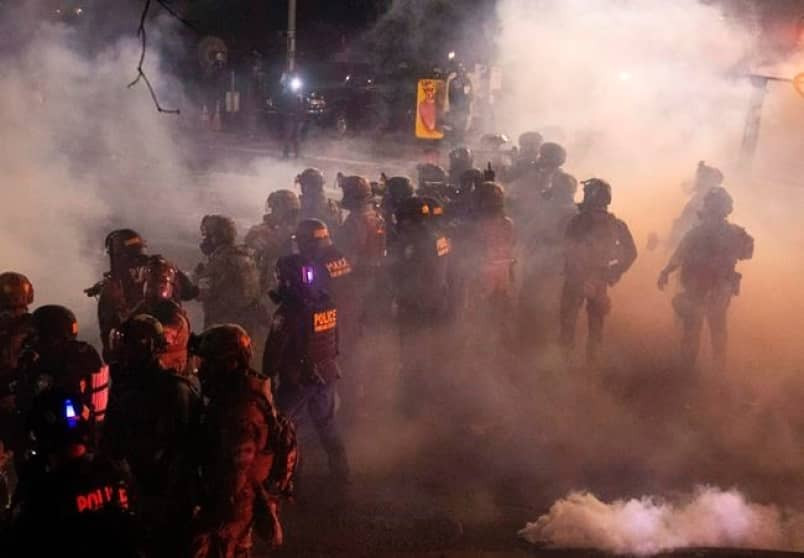 Portland Police using tear gas on protestors