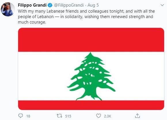 Tweet by Filippo Grandi