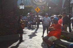 Singing for folks on the Main Street of Gatlinburg