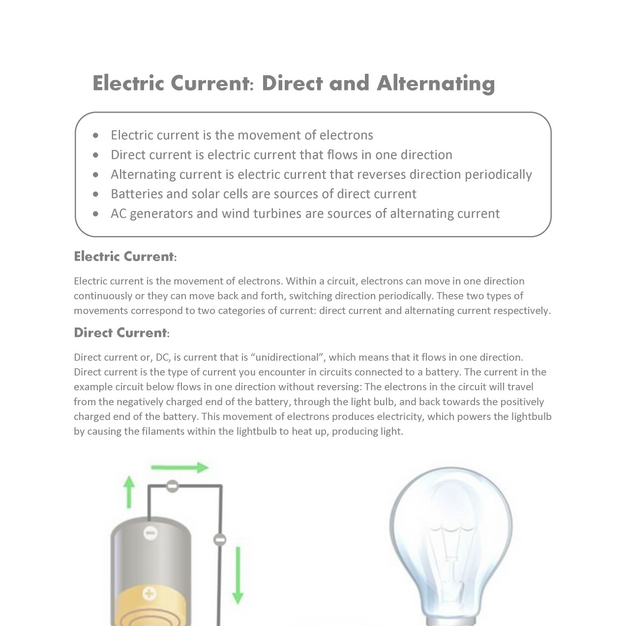 Electric Current: Direct and Alternating