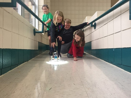 Pine River-Backus Students Playing With Solar Robot During an After School Program