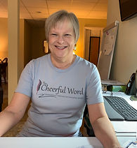 Trish Lockard in The Cheerful Word t-shirt