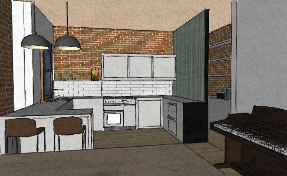 Kitchen sketch render