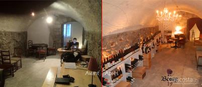 Restauration du mur de pierres - restauration du mobilier - confection du rideau - intégration éclairage & sonorisation