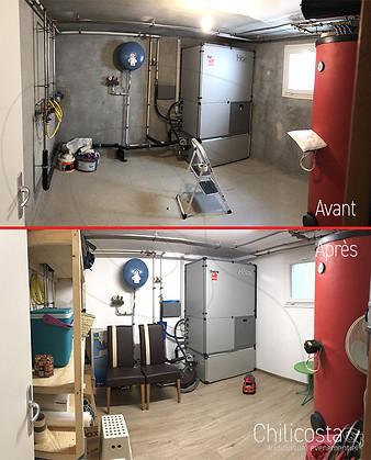 Peinture complète - pose parquet vinyle et plaintes - construction étagères sur mesure sans pieds englobant la tuyauterie - pose de néon led