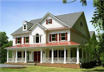 Merrimac House Bob Designed & Built. Copper covered wrap around porch, farmhouse style house.