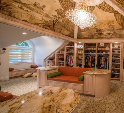 Closet our VNM Crew Worked On. Marble ceilings, sofas and a window seat.