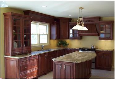 Kitchen remodel with dark wood.