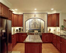 Blue and white tile featured backsplash in a new kitchen.