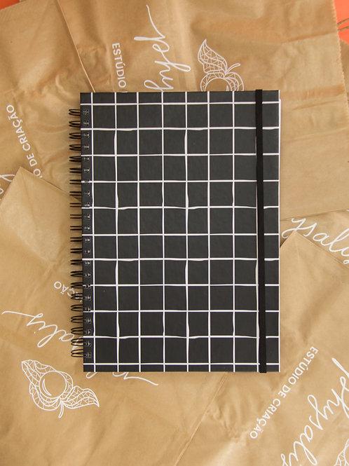 Caderno Grande Grid Preto