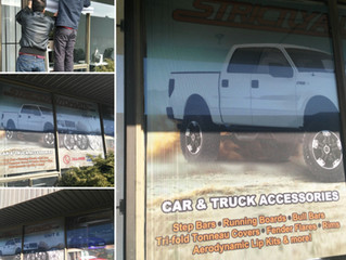 Strictly Auto Parts - Perforated Window Graphics Succesfully Installed