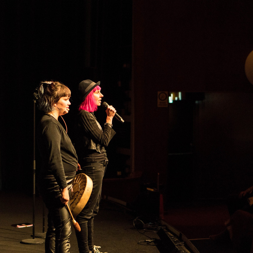 Louise Halvardsson and Nadja Itäsaari from the Soft Revolution of Goth Punk Poetry presented the ceremony