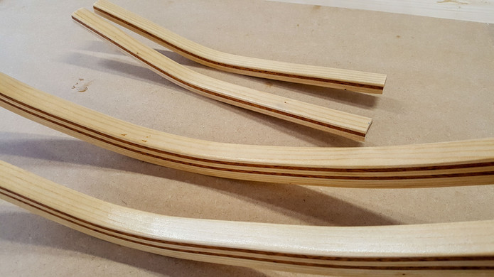 Strips of mahogany add an accent to the spruce frames and stiffeners.
