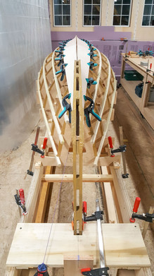 Dry fitting Garboard Planks.