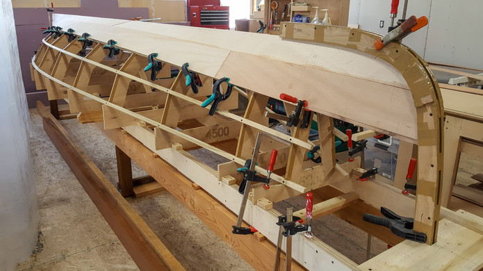 Two pairs of planks glued in place.