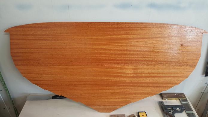 Transom glued-up, shaped, and epoxy coated.