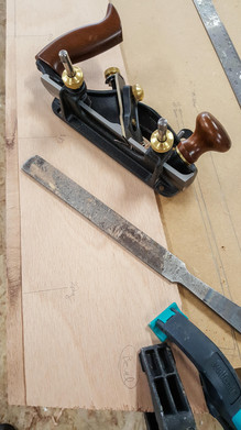 Gain has been cut using Rabbet Plane and tuned with a file. Note the transitions from one ply to the next matches the layout markings on the plank.