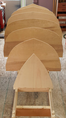Moulds set up on the building frame. You can start to see the general shape of the hull.