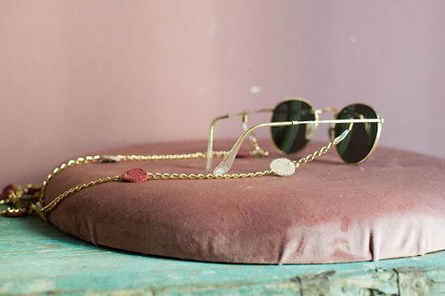 Caterina -  catenina per occhiali in con pois in pelle
