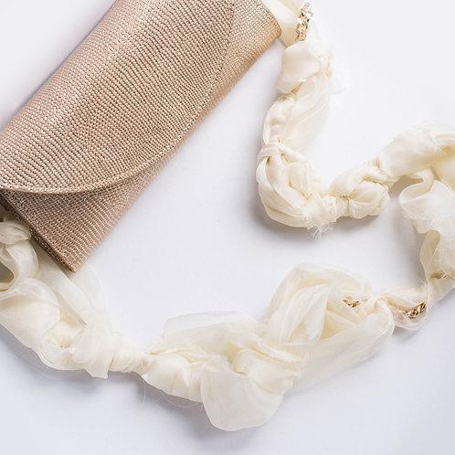 Pochette in pelle oro con tracolla in organza