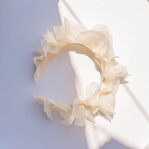 Cerchietto bridal con petali in organza