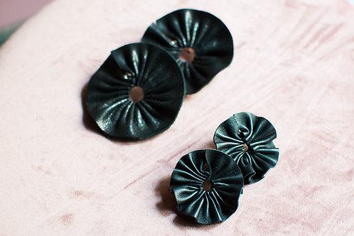 Orecchini Ghirlanda in pelle nera grandi