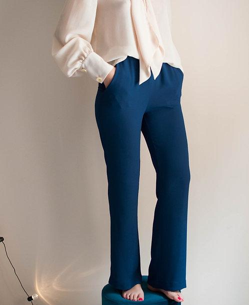 Pantalone in crepe blu notte