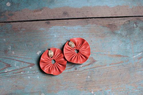 Orecchini Ghirlanda in nappa arancio