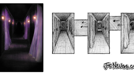 Haunted Hallway Concept Sketches