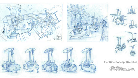 Flat Ride Concept Design Sketches