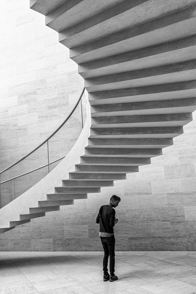 Unter der Treppe im MUDAM