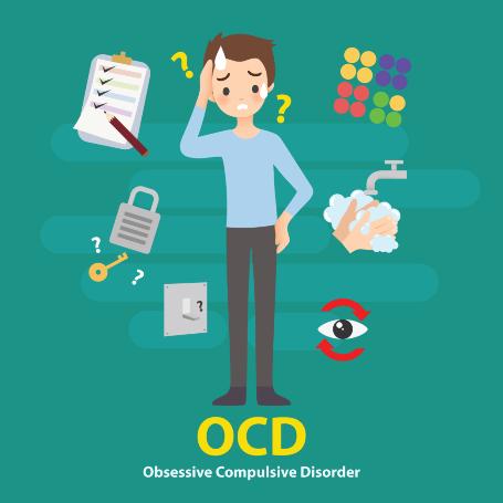 אילוסטרציה של ילד עם סימפטומים של OCD לחץ, הזעה, חרדה