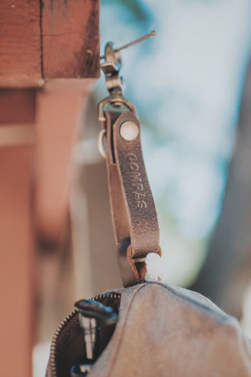 Compas Leather Keychain