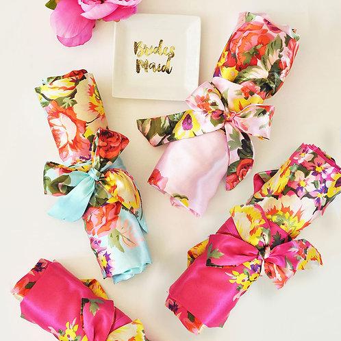 Satin Floral Bridal Robes