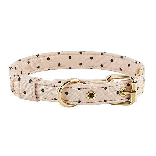 Saffiano Collar - Blush with Polka Dots