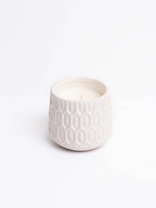 White Boho Ceramic Candle
