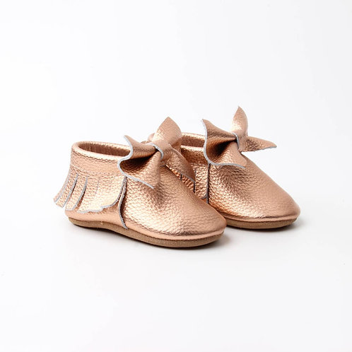Rose Gold Leather Baby Moccasins with Bow
