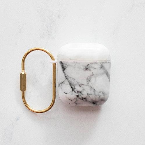 White Grey Marble Hard Airpod Case