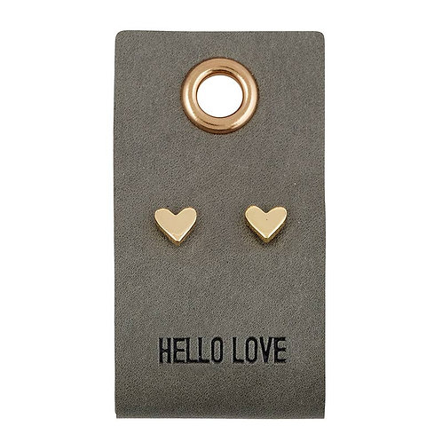 Leather Tag With Earrings - Heart