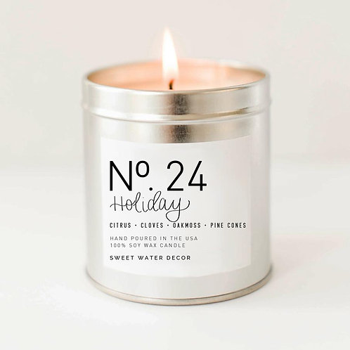 Holiday Soy Candle - Silver Tin