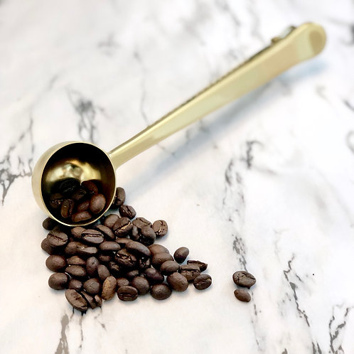 Gold Coffee Scoop with Clip