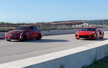 Watch the C8 Mid-Engine Corvette Hold Its Own Against a 640-HP Cadillac CTS-V