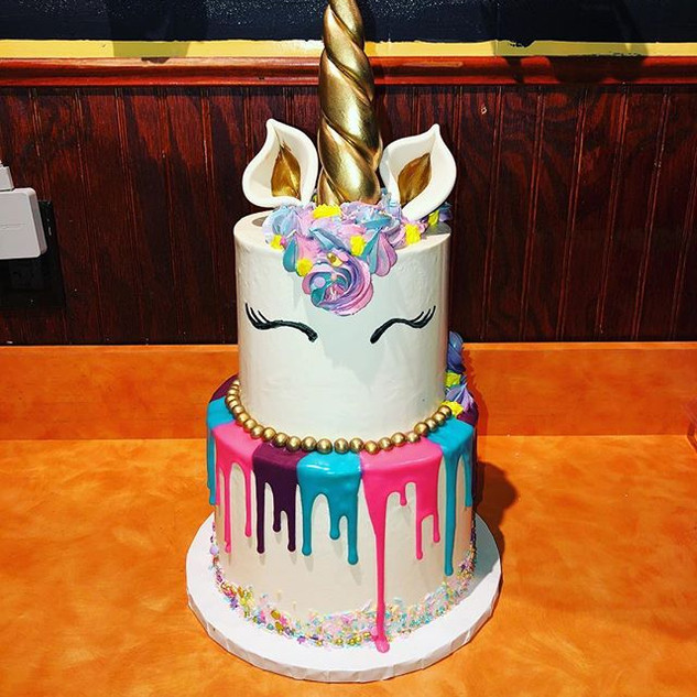 Unicorn Drip Birthday Cake #unicorn #cak