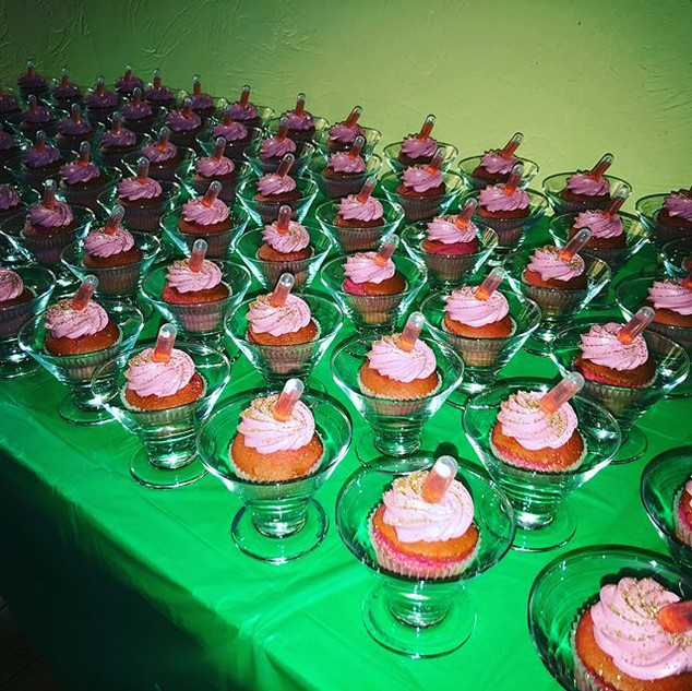 Some fun party favors, a cosmo cupcakes