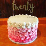 Twentieth Birthday Cake, ombre pink butt