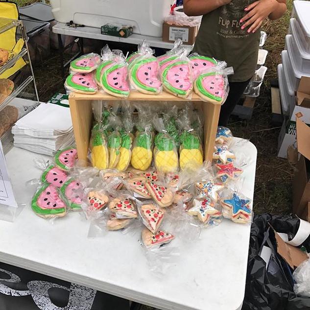 Sugar cookies or pineapples, watermelon