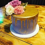 Lavender & Gold Drip Sixtieth Birthday C