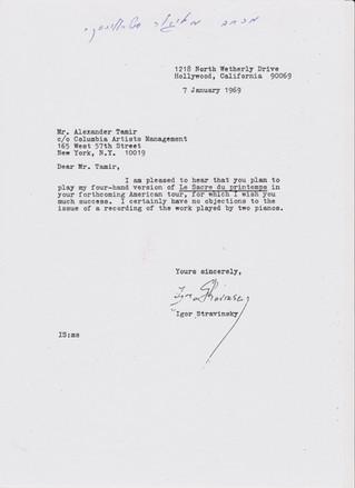 Letter from Igor Stravinsky, 1969
