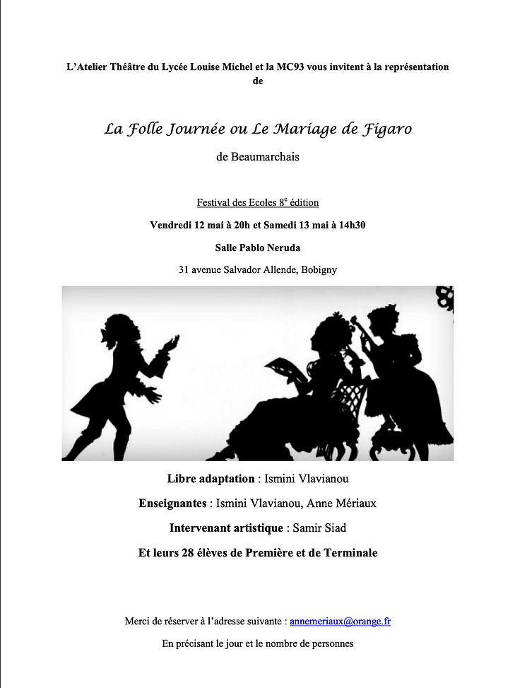 Invitation La Folle journée ou Le Mariag
